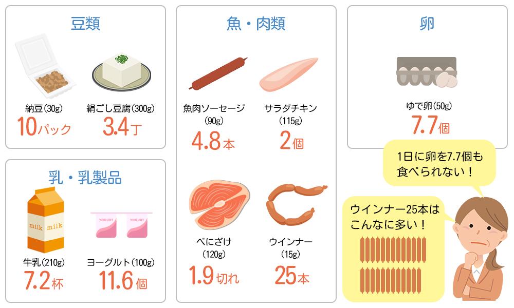 多い タンパク質 食べ物 の